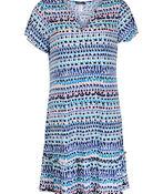 Keyhole Neckline Ruffle Hem Shift Dress , Blue, original image number 0