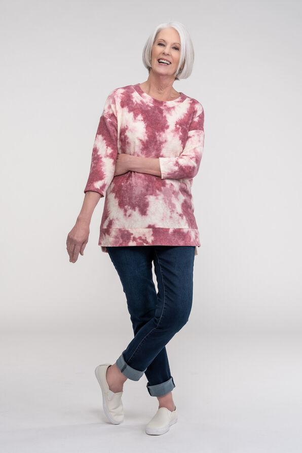 Fleece Tie Dye Long Sleeve Top, Pink, original image number 1