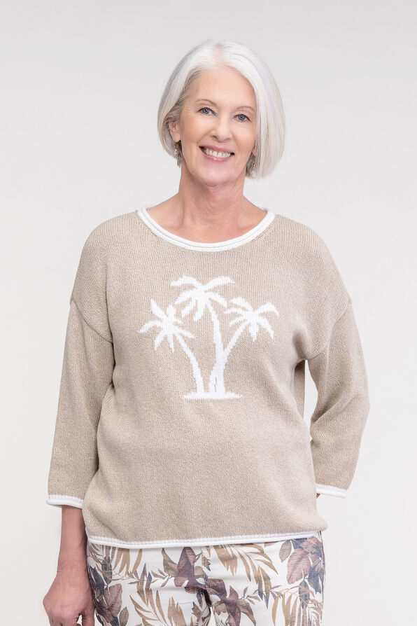 Palm Tree Knit Sweater with Roll Neck, Taupe, original image number 0