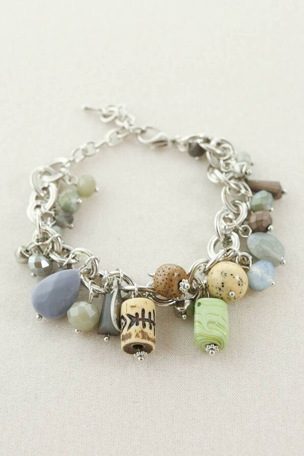 Natural Charms Bracelet, Silver, original image number 0