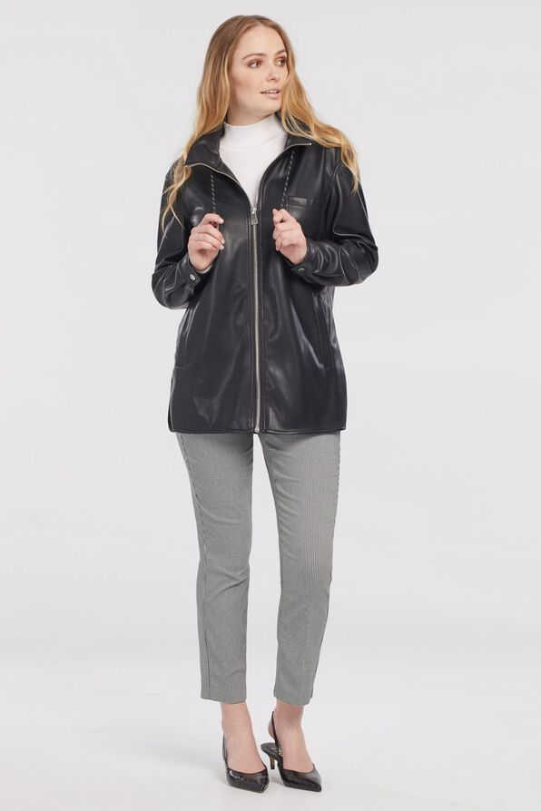 Autumn Pleather Jacket with Packable Hood, Black, original image number 2