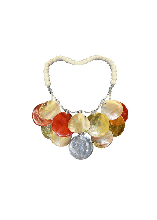 Shell and Wood Beaded Statement Necklace, Orange, original