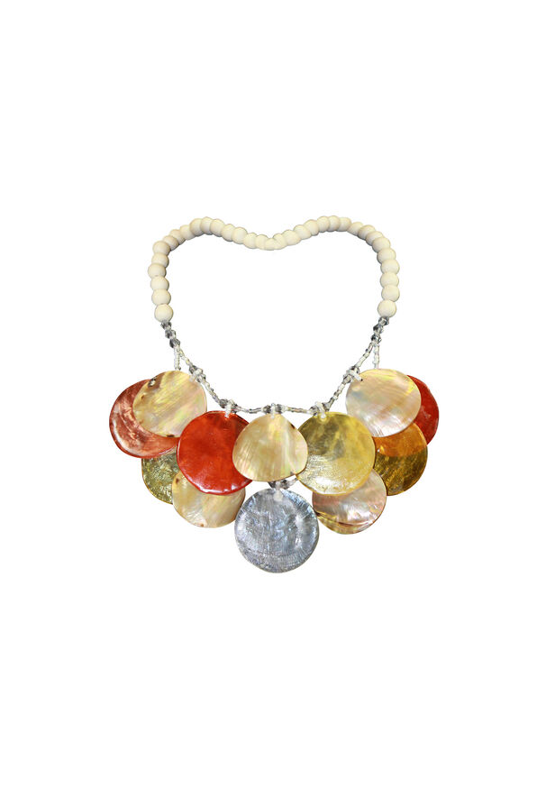 Shell and Wood Beaded Statement Necklace, Orange, original image number 0