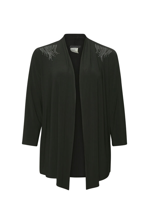 Cardigan with Stud Accents, Black, original image number 0