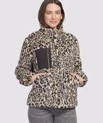 Leopard Fleece Sherpa, Tan, original image number 0