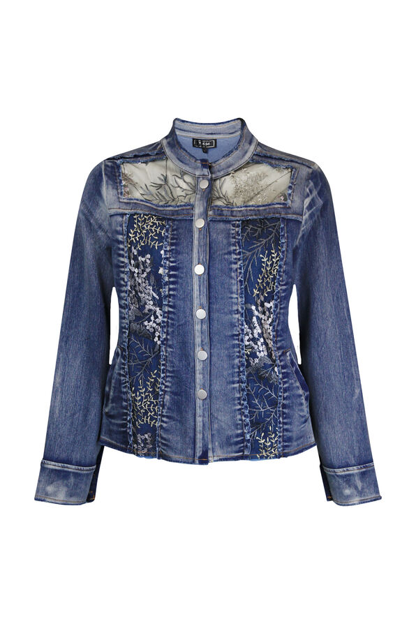 Denim Jacket with Mesh and Floral Embroidery, Denim, original image number 0