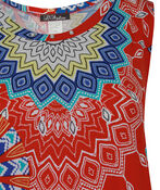Sleeveless Medallion Print Swing Dress , Red, original image number 2