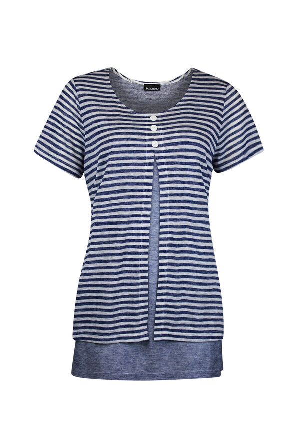 Striped Short Sleeve Top Layered with Split Front, Navy, original image number 0