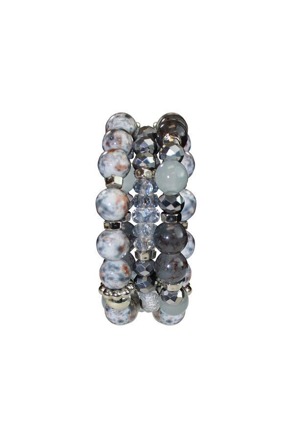 3Set Marbled Beaded Bracelet, Blue, original image number 0