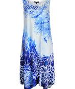 Animal Print Dress with Sharkbite Hem, Blue, original image number 0
