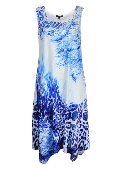 Animal Print Dress with Sharkbite Hem, Blue, original