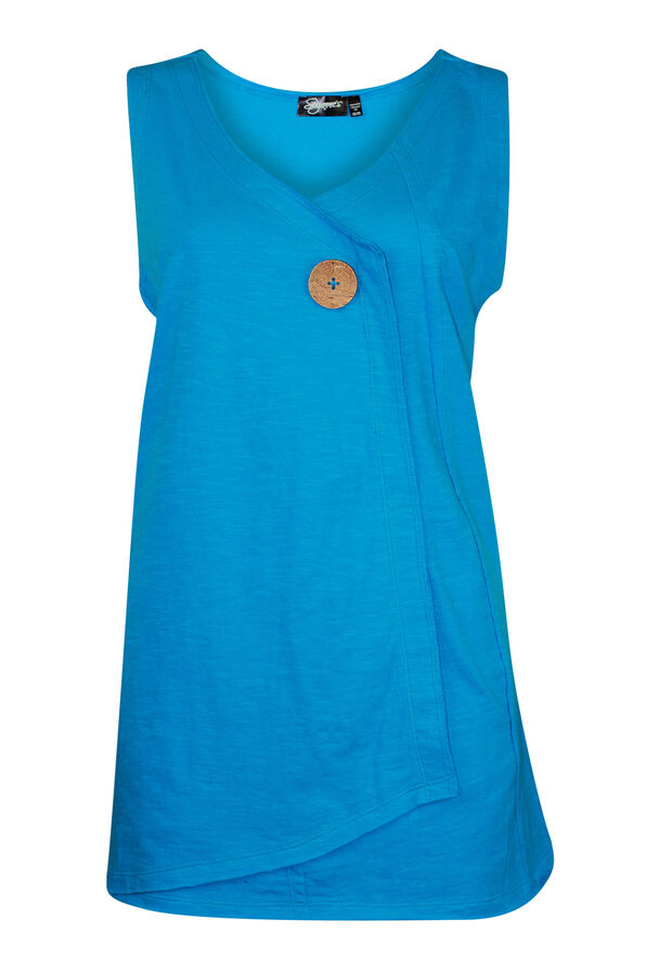 Cotton Faux Crossover Sleeveless Top, Turquoise, original image number 0
