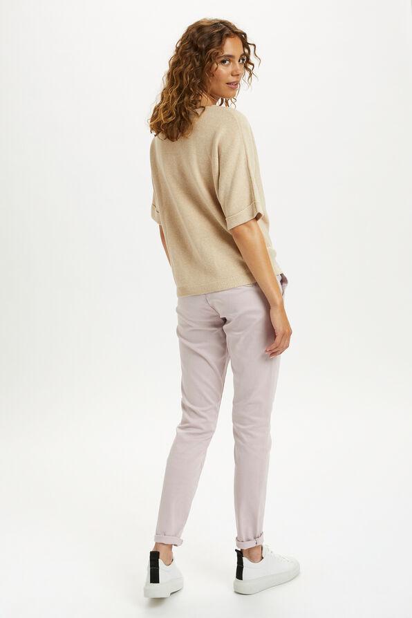 Cream Sillar Knit Pullover Sweater, Beige, original image number 3
