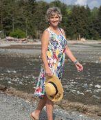 Sleeveless Printed Swing Dress, White, original image number 0