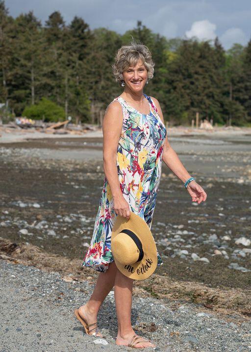 Sleeveless Printed Swing Dress, White, original