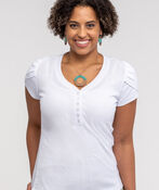 Tulip Sleeve Henley Top, White, original image number 0