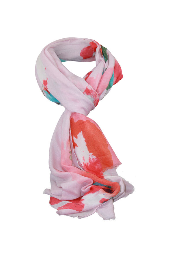 Abstract Print Rectangle Scarf, Pink, original image number 0
