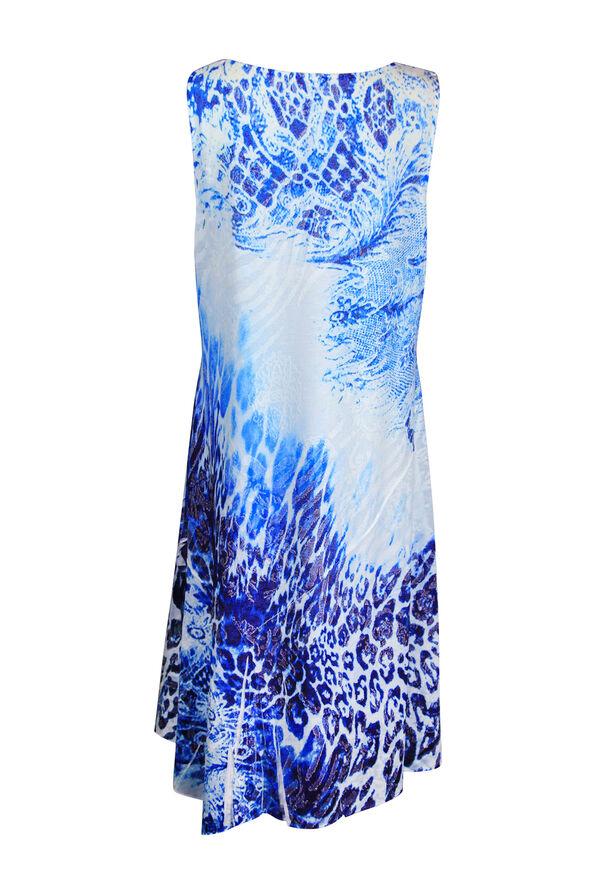 Animal Print Dress with Sharkbite Hem, Blue, original image number 1
