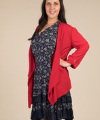 Open Front Cardigan, Red, original image number 1