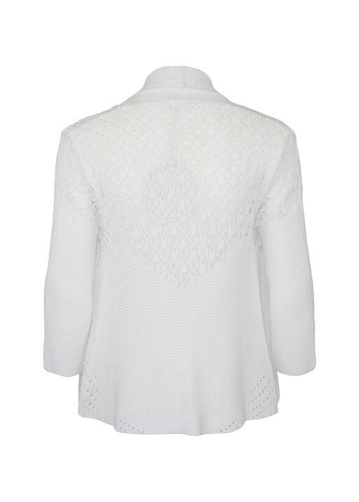 Cotton Pointelle Cardigan , White, original