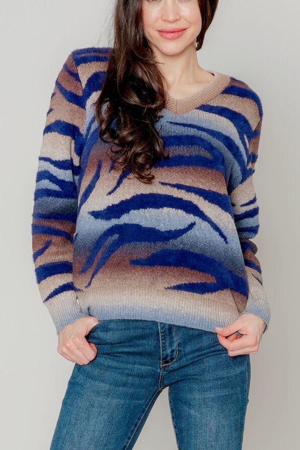 Zebra-Wave Sweater, Denim, original image number 0