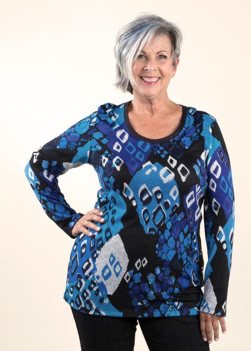 Print Knit Tunic Top, Royal, original