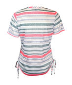 Striped Burnout T-shirt with Side Ruche Drawstrings, White, original image number 1