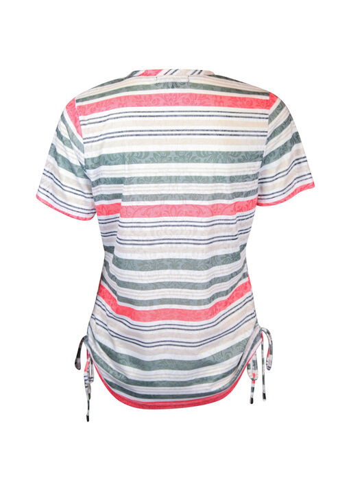 Striped Burnout T-shirt with Side Ruche Drawstrings, White, original