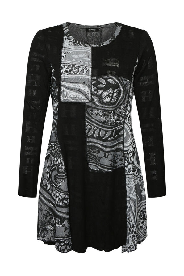 Judy Patch Print Tunic, Black, original image number 0