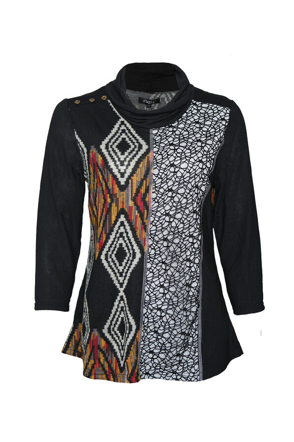 Knit and Lace Tunic with Cowl Neck, , original image number 0