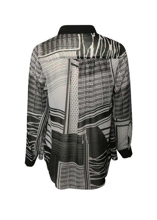 Mixed Striped Long Sleeve Blouse, Black, original