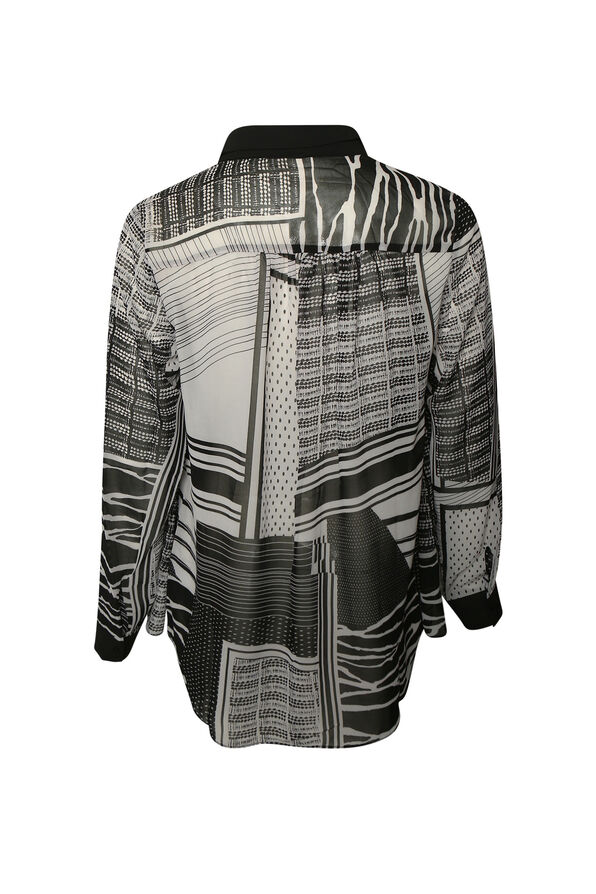 Mixed Striped Long Sleeve Blouse, Black, original image number 1