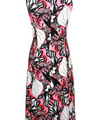 Embroidered Printed Sleeveless Midi Dress , Coral, original image number 1