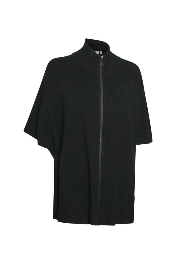 Mock Neck Poncho with Zipper , Black, original image number 0