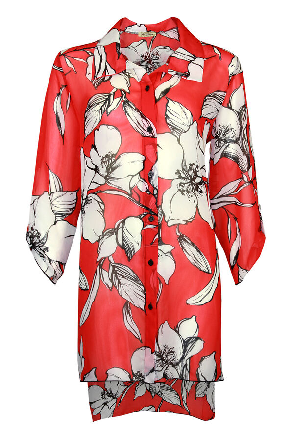 Long Floral Print Button Front Chiffon Blouse, Red, original image number 0