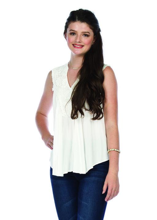 Lace Applique Sleeveless Top, , original