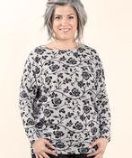 Print Knit Top, Grey, original image number 1