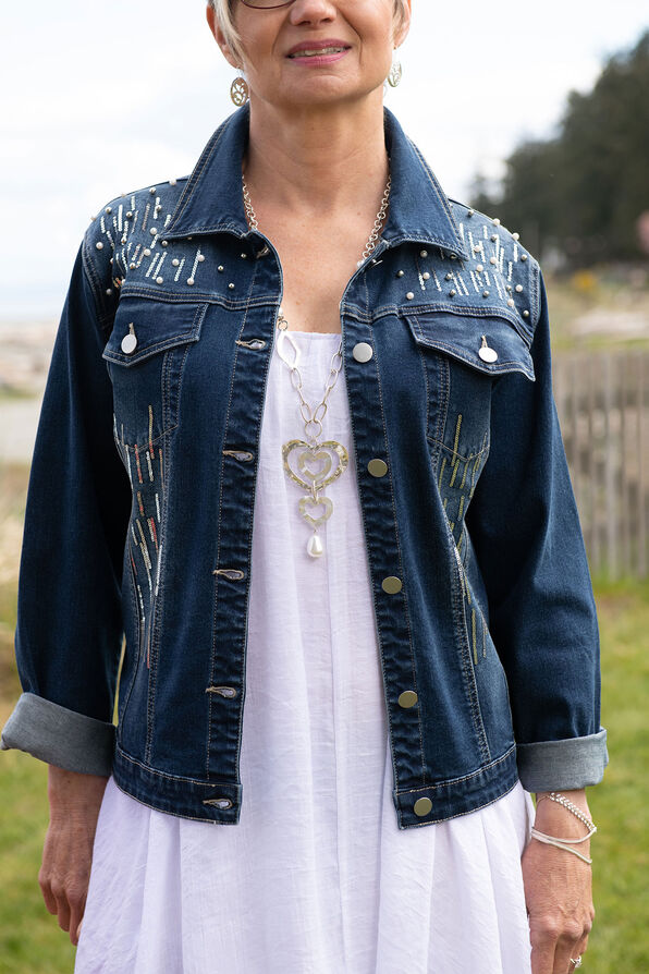 Pearl Sequins Dusted Denim Jacket, Denim, original image number 0