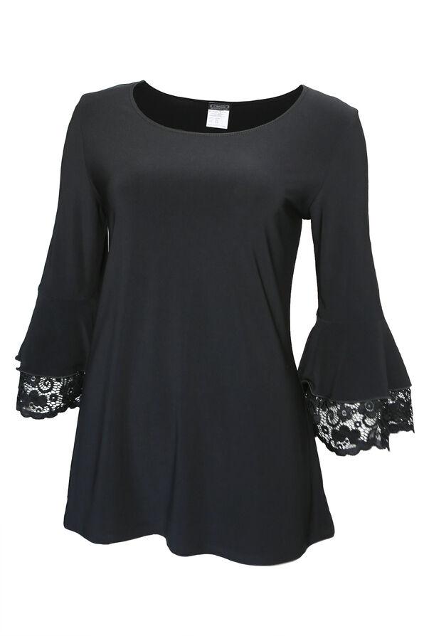 Lace Trimmed Bell Sleeve Top, Black, original image number 0