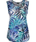 Sleeveless Aline Hi-Lo Printed Top, Turquoise, original image number 0