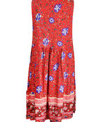Floral Print Sleeveless Tunic with Pintucks, Red, original image number 1