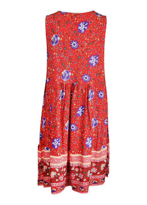 Floral Print Sleeveless Tunic with Pintucks, Red, original