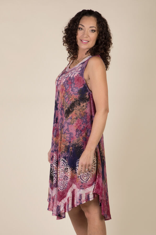 Sleeveless Embroidered Tie Dye Swing Dress, Pink, original image number 1