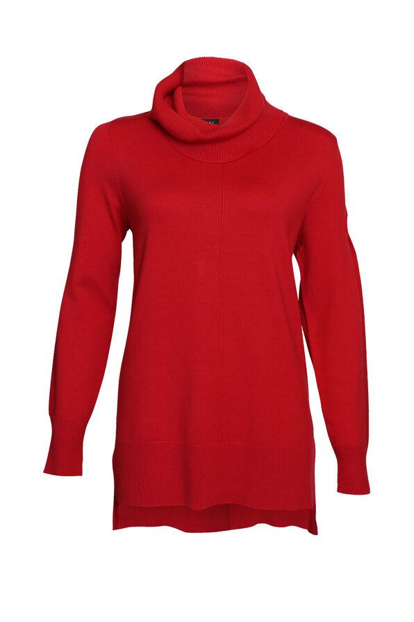 Ribbed Trim Cowl Neck Sweater, , original image number 0