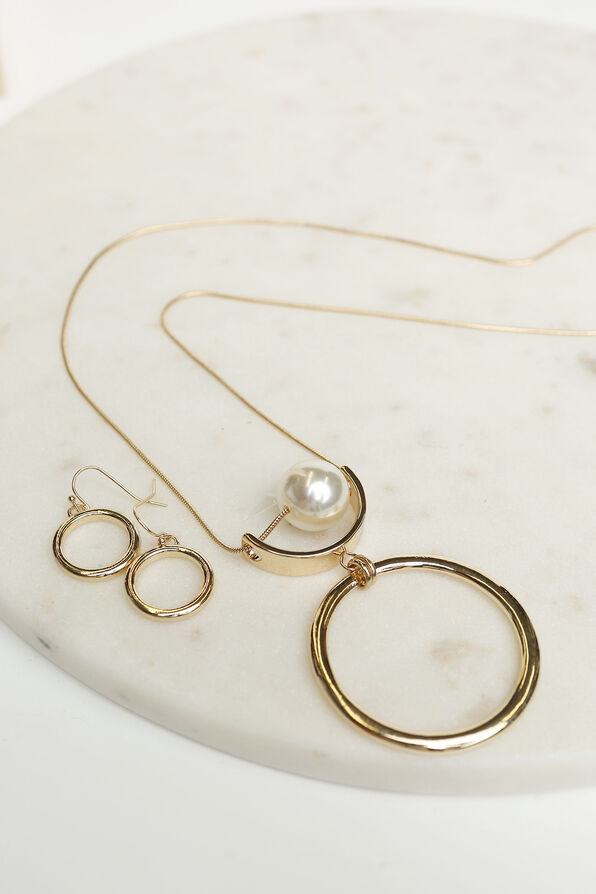 Classic Circle Pendant Necklace Set, Gold, original image number 1