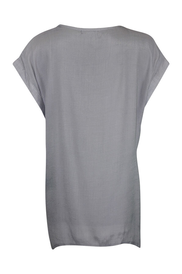 Cap Sleeve Top with Coconut Buttons, Grey, original image number 1