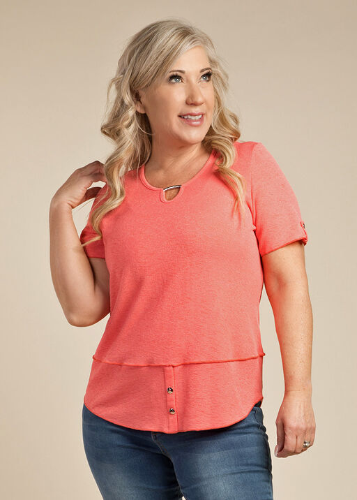 Simply Studded T Shirt, Coral, original