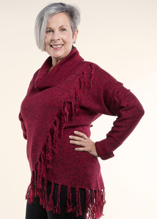 Cowl Neck Sweater , Red, original