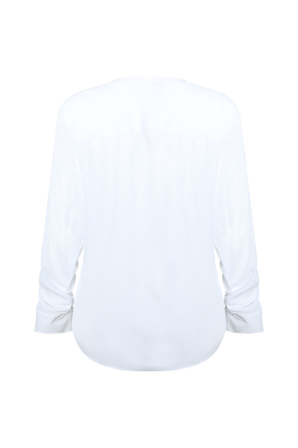 Sheer Long Sleeve Blouse, White, original image number 1