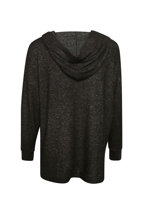 Butter Fleece Hooded Long Sleeve Top, Black, original image number 1